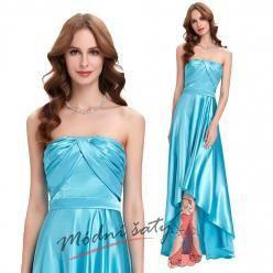 Lesklé světle modré plesové šaty s asymetrickou sukní