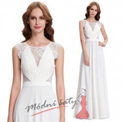 Bílé plesové šaty s krajkovou aplikací