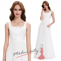 Bílé plesové šaty na širokých ramínkách