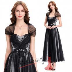Černé večerní šaty ke kotníkům s přehozem přes ramena