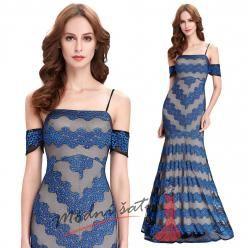Modré plesové šaty se spadlými rukávky