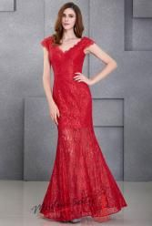 Červené plesové šaty krajkové