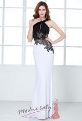 Uplé šaty s bílou sukní a černým vrškem s kvítky