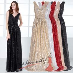 Flitrové večerní šaty s výstřihem do V