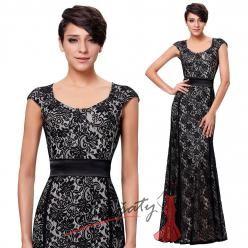 Černobílé večerní krajkové šaty s rukávky