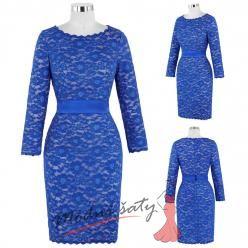 Modré krajkové společenské šaty s dlouhým rukávem