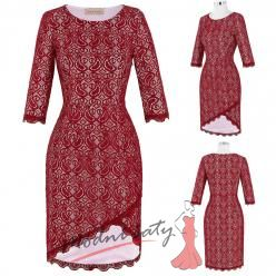 Červené krajkové společenské šaty s tříčtvrtečním rukávem