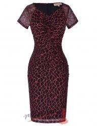Černé šaty s červenou aplikací
