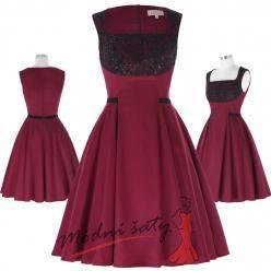 Vínové šaty s černou krajkou