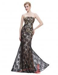 Černozlaté krajkové večerní šaty