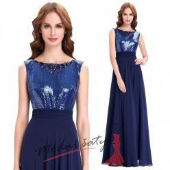 Modré večerní šaty s flitrovým vrškem