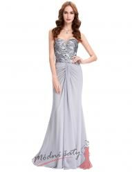 Uplé šedé večerní šaty s flitrovým vrškem