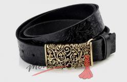 Zdobený kožený pásek černý