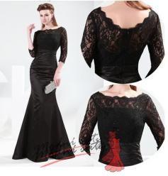 Černé krajkové večerní šaty.