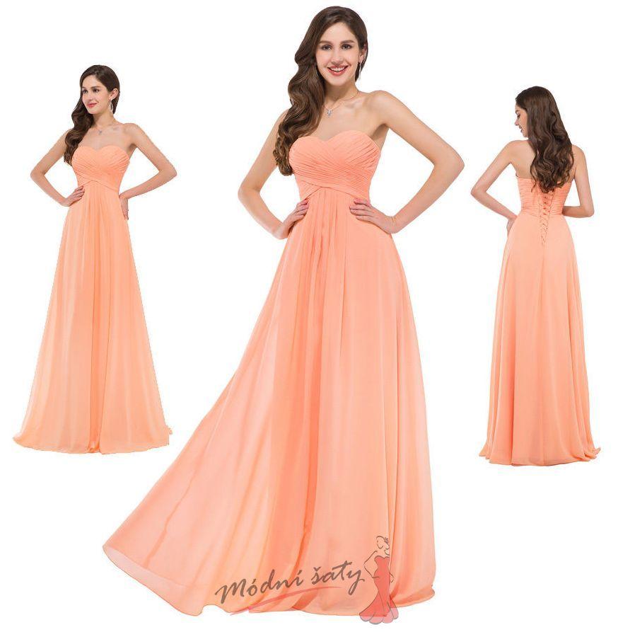 Vel. 46.- Meruňkové večerní šaty. Jemné meruňkové plesové šaty 2f1e76a6606