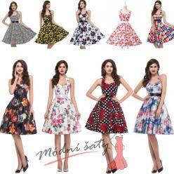 Retro šaty s květinami - více vzorů a barev
