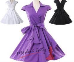 Retro šaty s rukávky - více barev