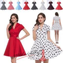 Retro šaty puntikaté s rukávky - více barev