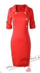 Vel. XL.- Červené pouzdrové šaty se zlatými knoflíky