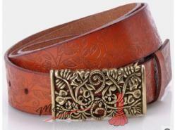Zdobený kožený pásek sv. hnědý