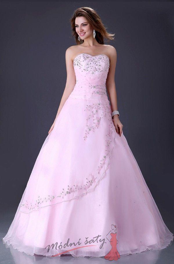 b1fa9ba5343 Světle růžové plesové šaty