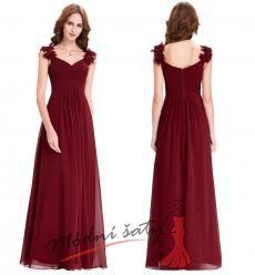 Vel. 44.- Červené plesové šaty s květinami na ramenech
