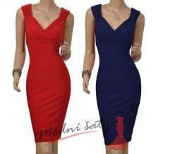 Červené nebo modré uplé šaty na ramínkách