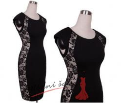 Černé šaty s krajkovým lemováním s rukávky