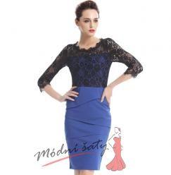 Modré šaty s černým krajkovým vrškem