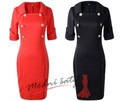 Černé nebo červené pouzdrové šaty se zlatými knoflíky
