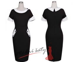 Černé pouzdrové šaty s bílým límečkem