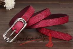 Pásek tenký s květinkami kožený červený