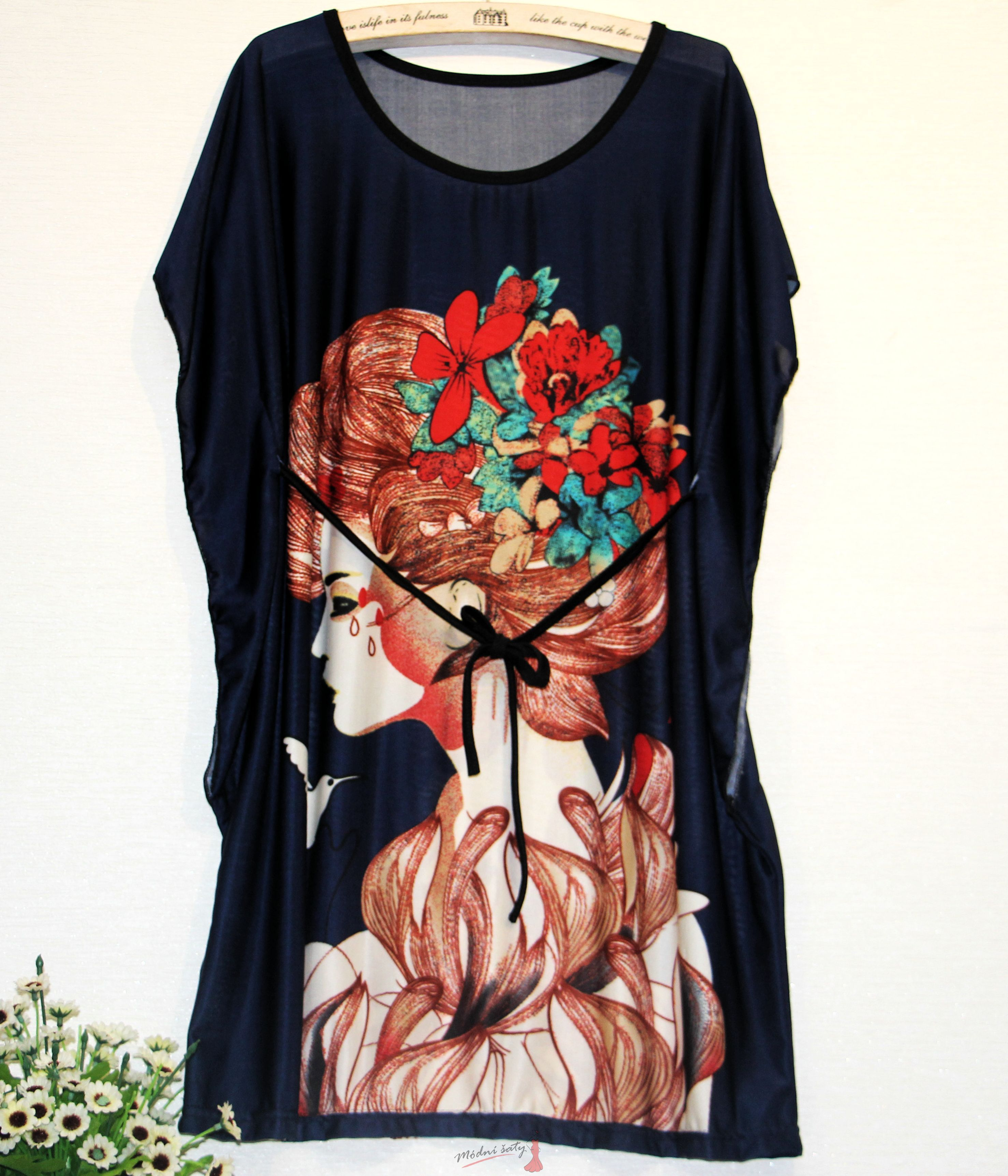 Černá tunika s paní s květy dc58598040